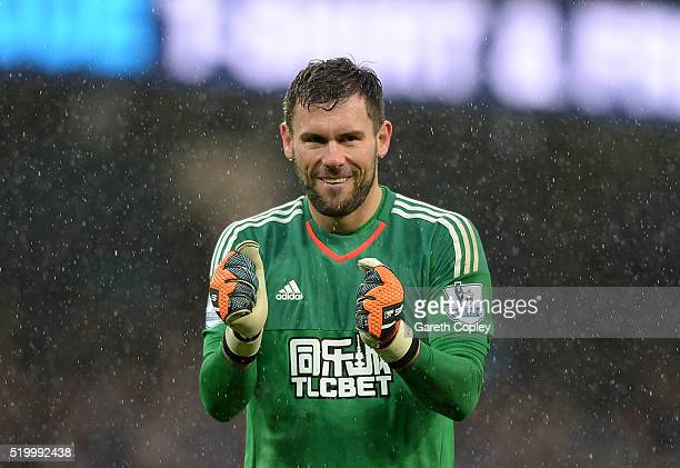 Ben Foster of West Bromwich Albion celebrates his team's first goal during the Barclays Premier League match between Manchester City and West...