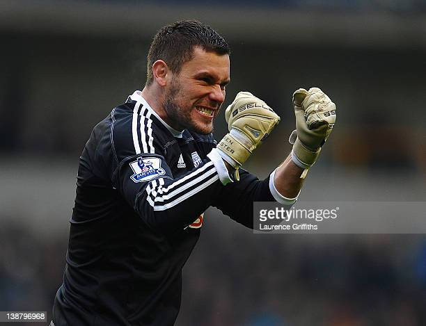 Ben Foster of West Bromwich Albion celebrates the first goal during the Barclays Premier League match between Wolverhapton Wanderers and West...