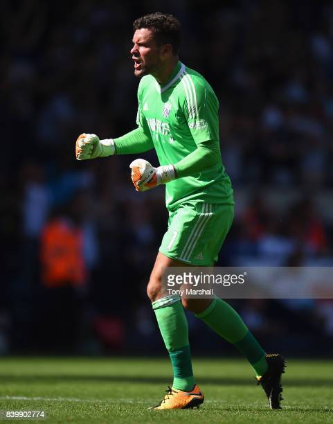 Ben Foster of West Bromwich Albion celebrates their goal being scored during the Premier League match between West Bromwich Albion and Stoke City at...