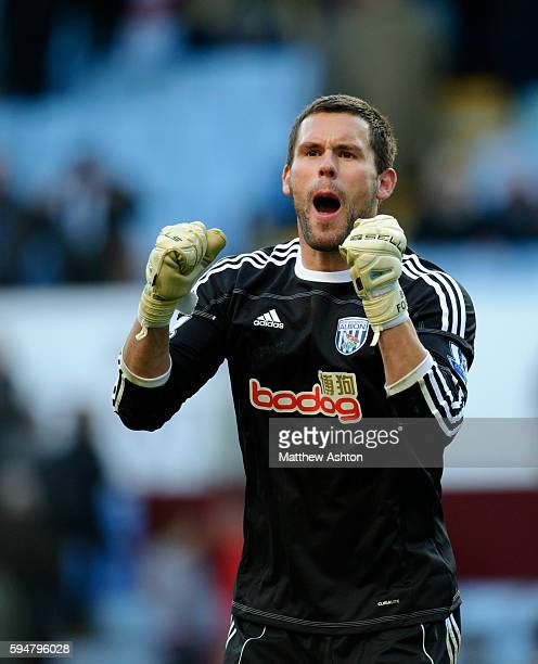 Ben Foster of West Bromwich Albion celebrates victory at the end of the game