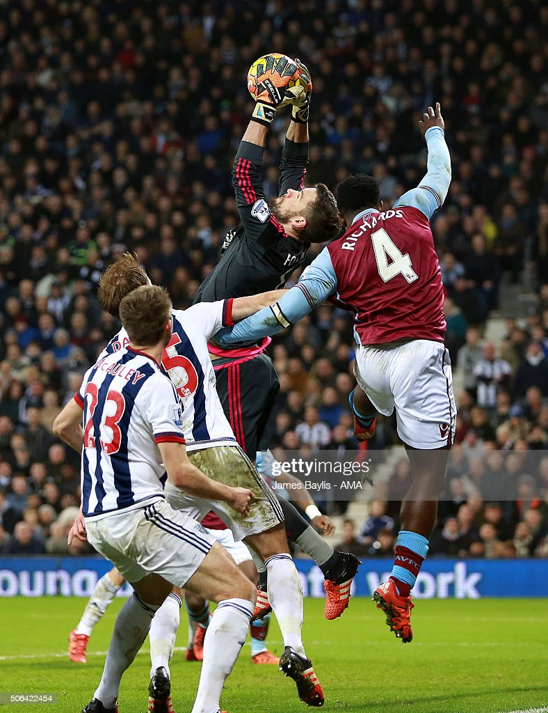 Ben Foster of West Bromwich Albion claims the ball ahead of Micah Richards of Aston Villa during the Barclays Premier League match between West Bromwich Albion and Aston Villa at The Hawthorns on January 23, 2016 in West Bromwich, England.