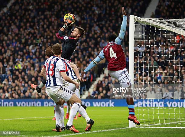 Ben Foster of West Bromwich Albion claims the ball ahead of Micah Richards of Aston Villa during the Barclays Premier League match between West...