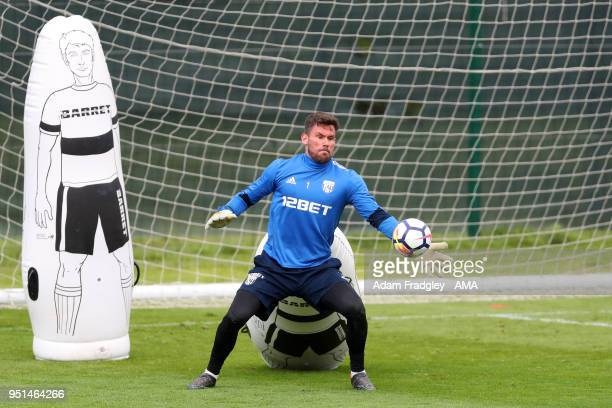 Ben Foster of West Bromwich Albion during a West Bromwich Albion Training Session on April 26 2018 in West Bromwich England