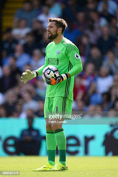 Ben Foster of West Bromwich Albion FC prepares to take a goal kick during the Premier League match between Crystal Palace FC and West Bromwich Albion...