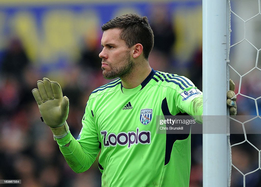 Ben Foster of West Bromwich Albion gestures during the Barclays Premier League match between Stoke City and West Bromwich Albion at Britannia Stadium on March 16, 2013 in Stoke on Trent, England.
