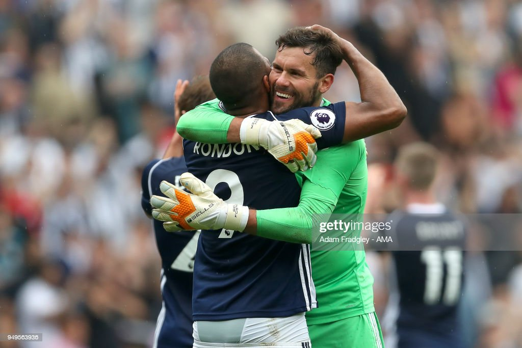 Ben Foster of West Bromwich Albion hugs Salomon Rondon of West Bromwich Albion after the match during the Premier League match between West Bromwich Albion and Liverpool at The Hawthorns on April 22, 2018 in West Bromwich, England.