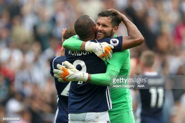 Ben Foster of West Bromwich Albion hugs Salomon Rondon of West Bromwich Albion after the match during the Premier League match between West Bromwich...