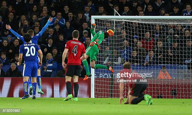 Ben Foster of West Bromwich Albion is unable to save the shot from Daniel Drinkwater of Leicester City who scores to make it 11 during the Barclays...