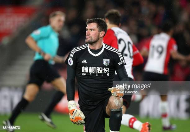 Ben Foster of West Bromwich Albion looks dejected after conceding his sides first goal during the Premier League match between Southampton and West...