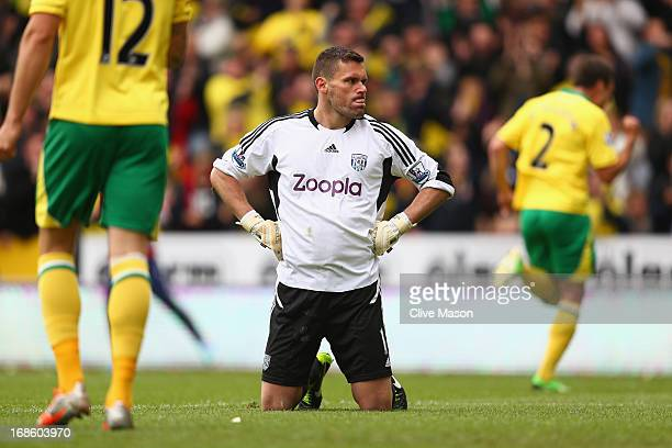 Ben Foster of West Bromwich Albion looks on as Norwich City celebrate during the Barclays Premier League match between Norwich City and West Bromwich...