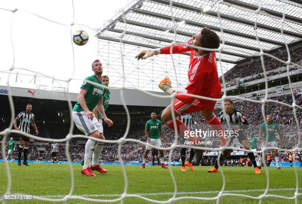 Ben Foster of West Bromwich Albion makes a save from a shot by Dwight Gayle of Newcastle United during the Premier League match between Newcastle...