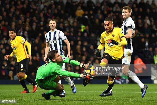 Ben Foster of West Bromwich Albion saves a shot by Roberto Pereyra of Watford during the Premier League match between West Bromwich Albion and...