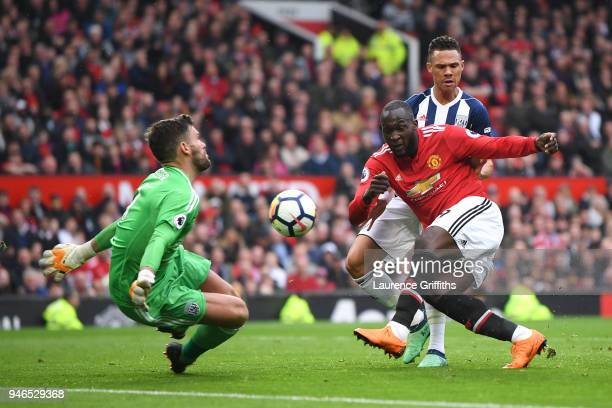 Ben Foster of West Bromwich Albion saves from Romelu Lukaku of Manchester United during the Premier League match between Manchester United and West...
