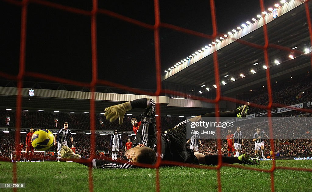 Ben Foster of West Bromwich Albion saves the penalty kick of Steven Gerrard of Liverpool during the Barclays Premier League match between Liverpool and West Bromwich Albion at Anfield on February 11, 2013 in Liverpool, England.