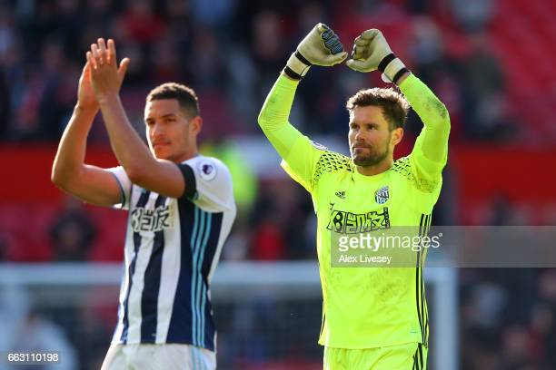 Ben Foster of West Bromwich Albion shows appreciation to the fans after the Premier League match between Manchester United and West Bromwich Albion...