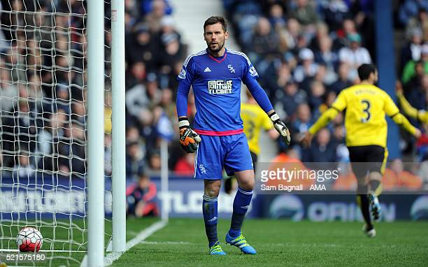 Ben Foster of West Bromwich Albion stands dejected after Ben Watson of Watford scored a goal to make it 01 during the Barclays Premier League match...