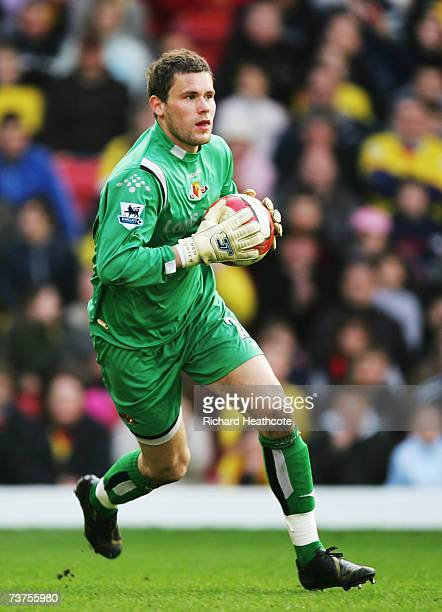 Ben Foster the Watford goalkeeper in action during the Barclays Premiership match between Watford and Chelsea at Vicarage Road on March 31 2007 in...