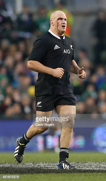 Ben Franks of the All Blacks looks on during the International match between Ireland and New Zealand All Blacks at the Aviva Stadium on November 24...