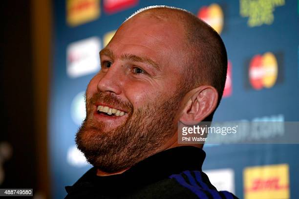 Ben Franks of the All Blacks speaks during a New Zealand All Blacks press conference at the Lensbury on September 17 2015 in London United Kingdom