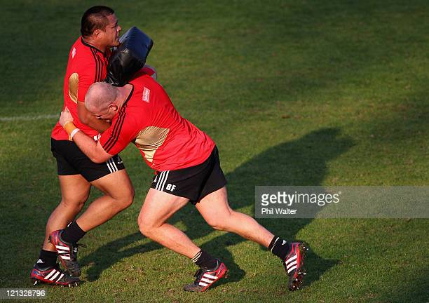 Ben Franks of the All Blacks tackles Keven Mealamu during the New Zealand All Blacks Training Session at Xerox Arena on August 18 2011 in Port...