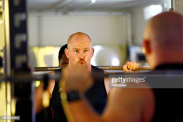 Ben Franks of the All Blacks trains during a gym session at Les Mills Takapuna on July 30 2014 in Auckland New Zealand