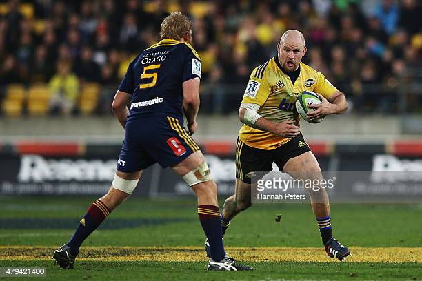 Ben Franks of the Hurricanes charges forward during the Super Rugby Final match between the Hurricanes and the Highlanders at Westpac Stadium on July...