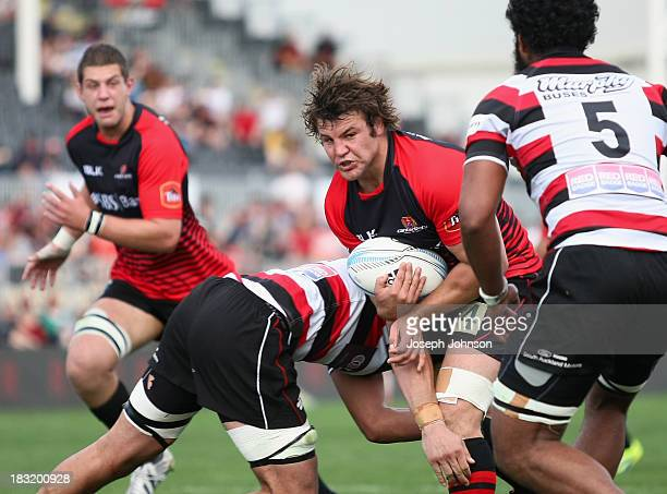 Ben Funnell of Canterbury in the tackle of Johnny Kawau of Counties Manukau during the round eight ITM Cup match between Cantebury and Counties...
