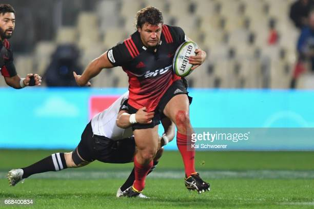 Ben Funnell of the Crusaders charges forward during the round eight Super Rugby match between the Crusaders and the Sunwolves at AMI Stadium on April...