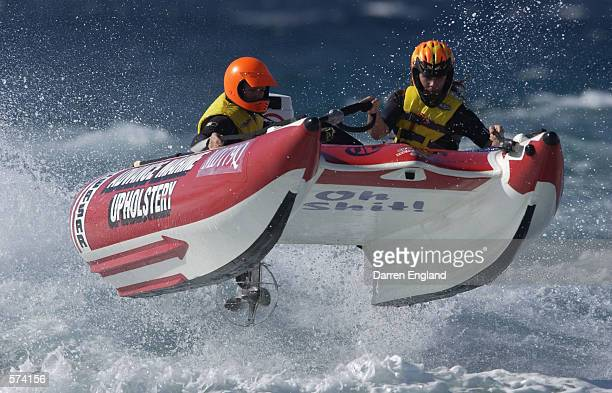 Ben Gambling and Troy Staples of Australia fly thru the air in their Thundercat Boat during racing at the Gold Coast Thundercat Club at Palm Beach on...