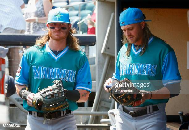 Ben Gamel and Taylor Motter of the Seattle Mariners prepare for a game against the New York Yankees at Yankee Stadium on August 26 2017 in the Bronx...