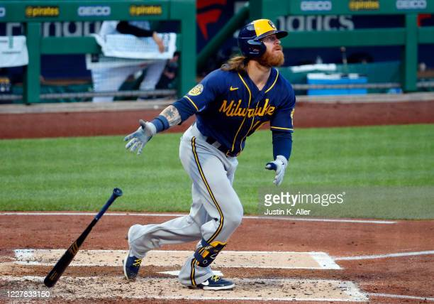 Ben Gamel of the Milwaukee Brewers hits a two-run home run in the third inning against the Pittsburgh Pirates at PNC Park on July 29, 2020 in...
