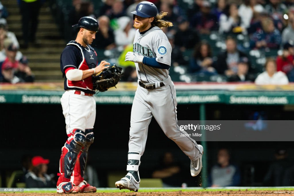 Ben Gamel #16 of the Seattle Mariners scores on a solo home run during the sixth inning against the Cleveland Indians at Progressive Field on April 28, 2017 in Cleveland, Ohio. The Mariners defeated the Indians 3-1.