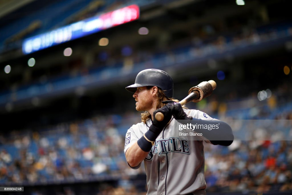 Ben Gamel #16 of the Seattle Mariners waits on deck to bat against pitcher Blake Snell of the Tampa Bay Rays during the 5th inning of a game on August 20, 2017 at Tropicana Field in St. Petersburg, Florida.