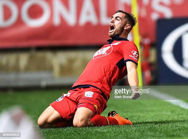 Ben Garuccio of Adelaide United scores and celebrates during the round 25 A-League match between Adelaide United and the Wellington Phoenix at...