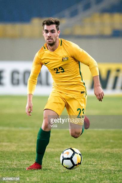 Ben Garuccio of Australia drives the ball during the AFC U23 Championship Group D match between South Korea and Australia at Kunshan Sports Centre...