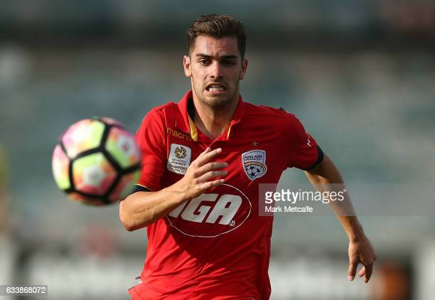 Ben Garuccio of United in action during the round 18 ALeague match between the Central Coast Mariners and Adelaide United at GIO Stadium on February...