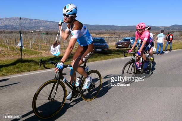 Ben Gastauer of Luxembourg and Team AG2R La Mondiale / Julius Van Den Berg of The Netherlands and Team EF Education First / Feed Zone / during the...