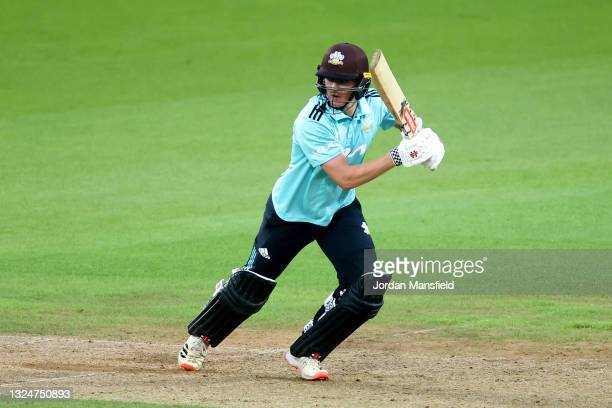 Ben Geddes of Surrey bats during the Vitality T20 Blast match between Surrey and Essex Eagles at The Kia Oval on June 21, 2021 in London, England.