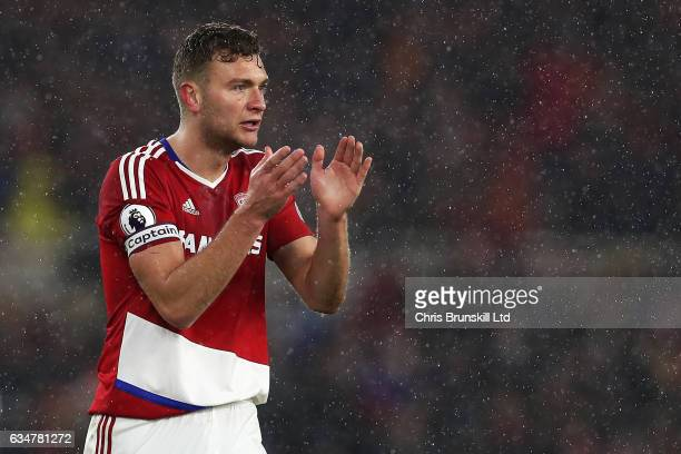 Ben Gibosn of Middlesbrough gestures during the Premier League match between Middlesbrough and Everton at Riverside Stadium on February 11 2017 in...