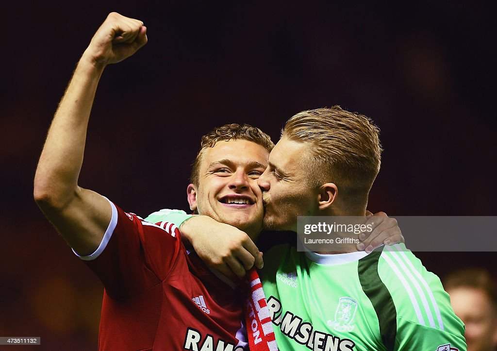 Ben Gibson (L) and Connor Ripley of Middlesbrough celebrate as they reach the final after the Sky Bet Championship Playoff semi final second leg match between Middlesbrough and Brentford at the Riverside Stadium on May 15, 2015 in Middlesbrough, England. Boro won the match 3-0 and 5-1 on aggregate.