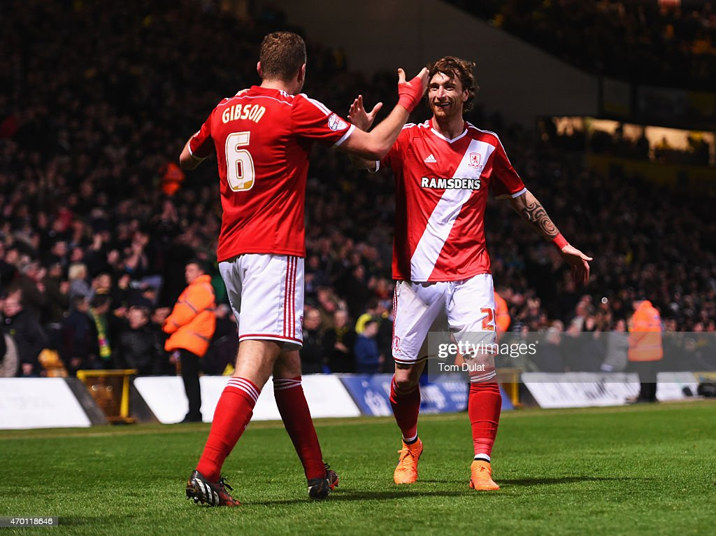 Ben Gibson (6) and Fernando Amorebieta of Middlesbrough celebrate victory after the Sky Bet Championship match between Norwich City and Middlesbrough at Carrow Road on April 17, 2015 in Norwich, England.