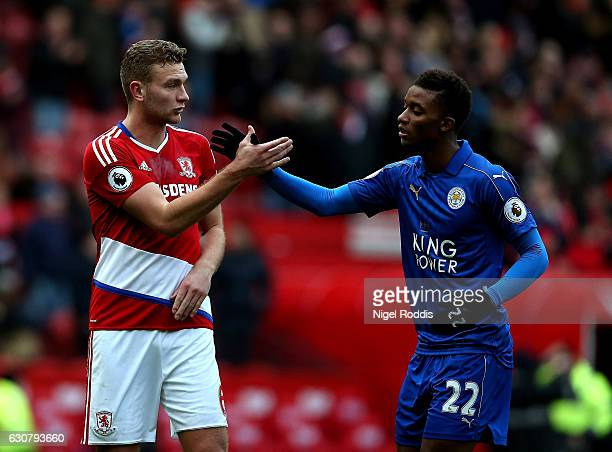 Ben Gibson of Middlesbrough and Demarai Gray of Leicester City shake hands after the final whistle after the Premier League match between...