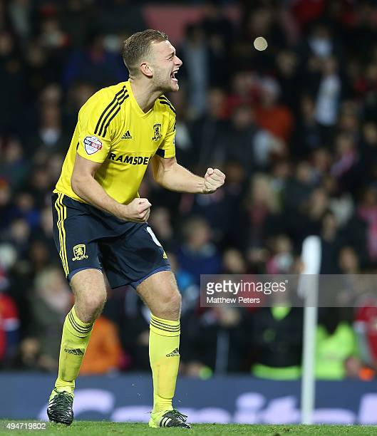 Ben Gibson of Middlesbrough celebrates after the Capital One Fourth Round match between Manchester United and Middlesbrough at Old Trafford on...