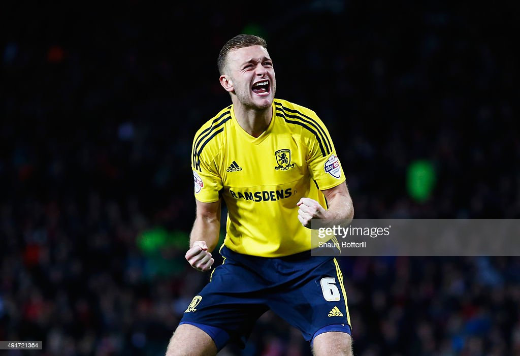 Ben Gibson of Middlesbrough celebrates scoring his penalty during the penalty shoot out during the Capital One Cup Fourth Round match between Manchester United and Middlesbrough at Old Trafford on October 28, 2015 in Manchester, England.