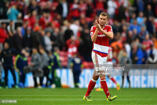 Ben Gibson of Middlesbrough claps the fans after the game during the Premier League match between Middlesbrough and Tottenham Hotspur at the...