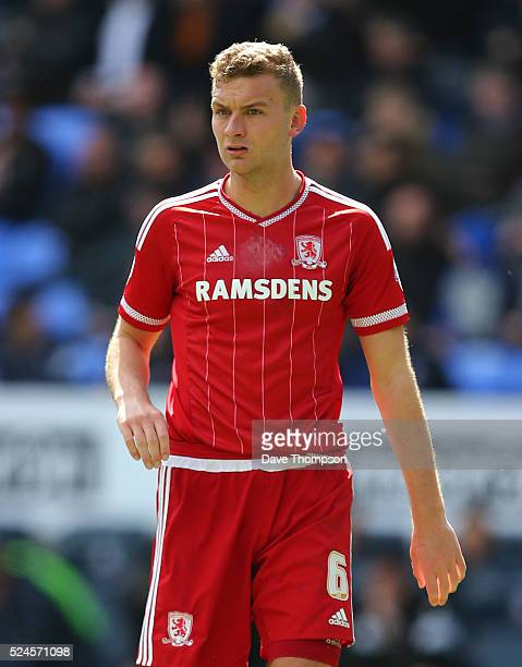 Ben Gibson of Middlesbrough during the Sky Bet Championship match between Bolton Wanderers and Middlesbrough at the Macron Stadium on April 16 2016...