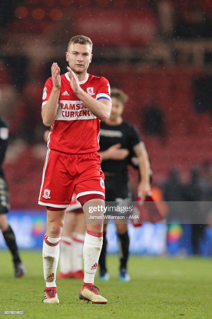 Ben Gibson of Middlesbrough during the Sky Bet Championship match between Middlesbrough and Leeds United at Riverside Stadium on March 2, 2018 in Middlesbrough, England.