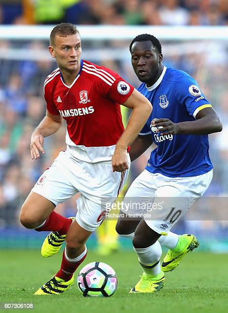Ben Gibson of Middlesbrough is put under pressure from Romelu Lukaku of Everton during the Premier League match between Everton and Middlesbrough at...