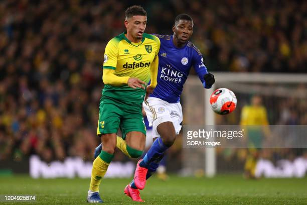 Ben Godfrey and Kelechi Iheanacho in action during the Premier League match between Norwich City and Leicester City at Carrow Road Final Score...