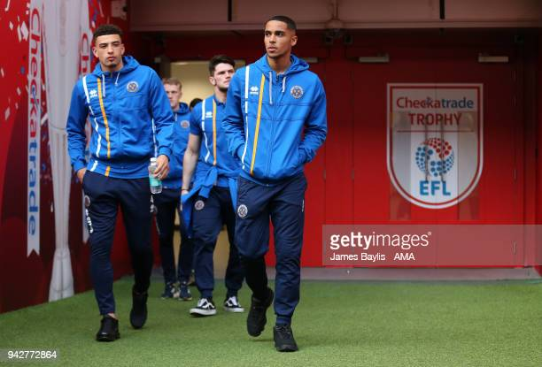 Ben Godfrey and Max Lowe of Shrewsbury Town during a tour of Wembley prior to the EFL Checkatrade Trophy final at Wembley Stadium on April 6 2018 in...